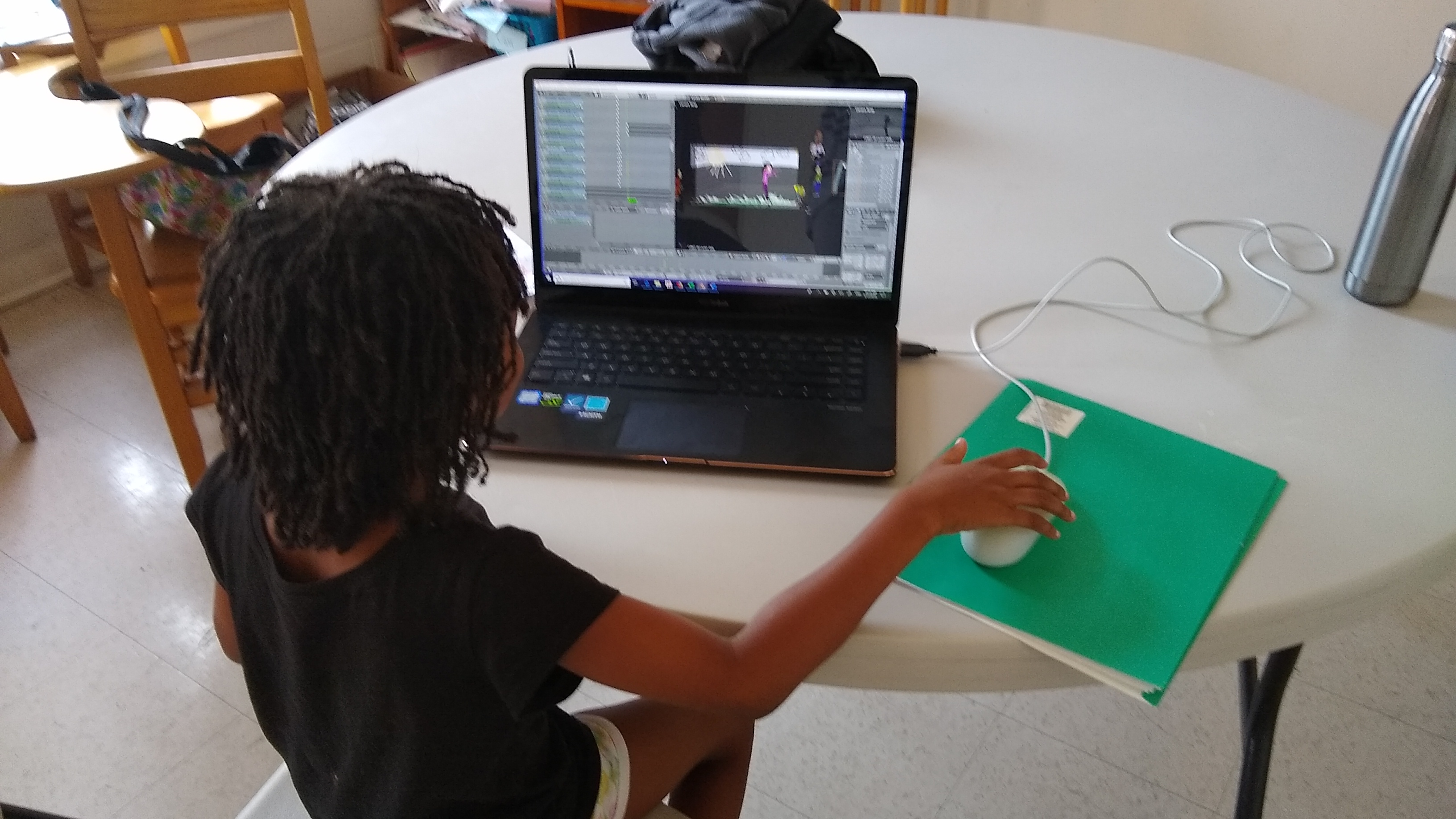 five-year-old doing computer animation