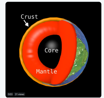 crust mantle core