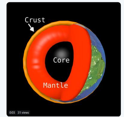 crust mantle core